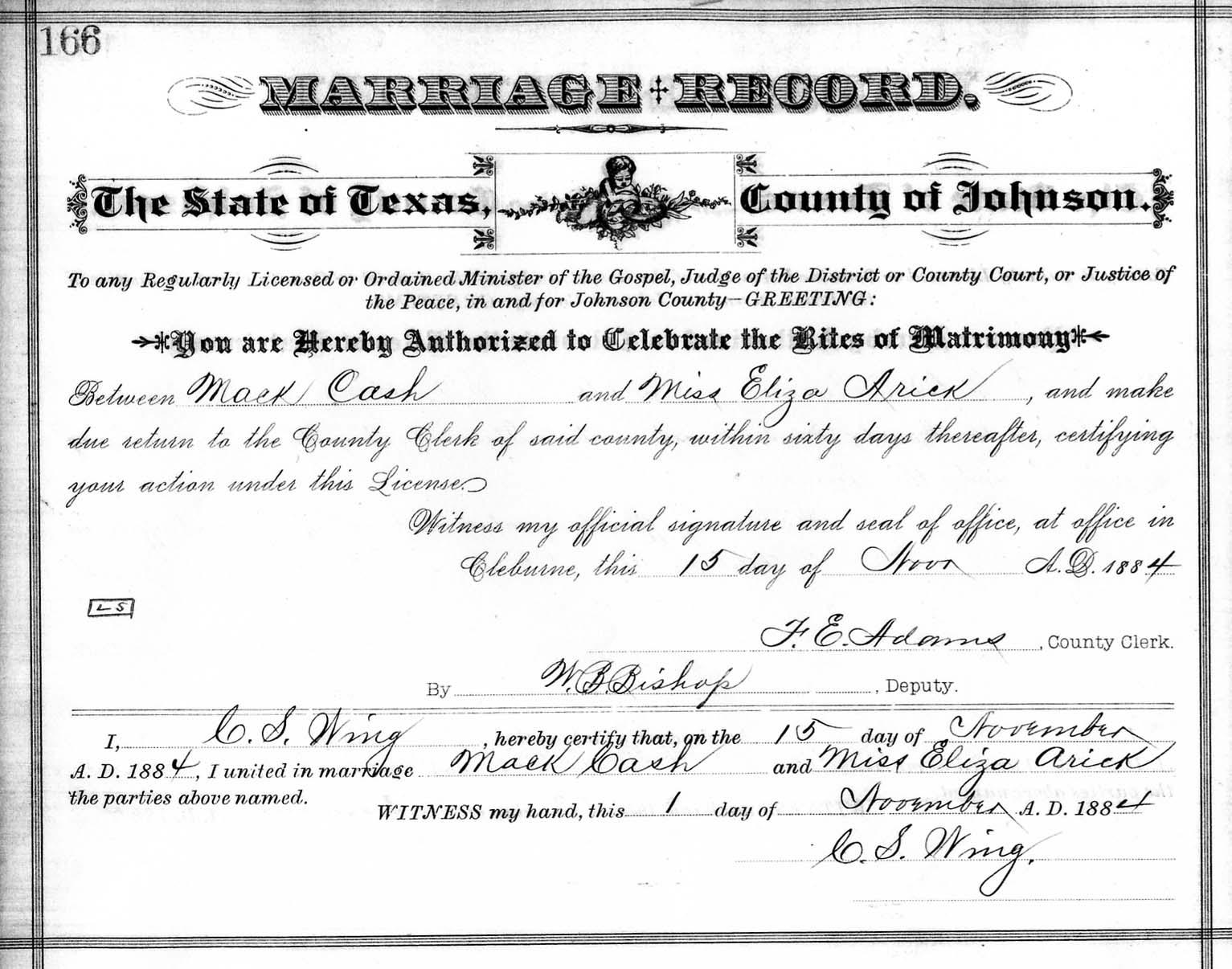 Arrickorrick genealogy master index mack cash and elizabeth violet arrick marriage certificate 1betcityfo Images